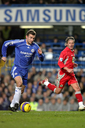 31 January 2007: Chelsea striker Andriy Shevchenko runs with the ball during the Premiership game between Chelsea and Blackburn Rovers, played at Stamford Bridge. Chelsea won the match 3-0. Photo: Actionplus....070131 football soccer player
