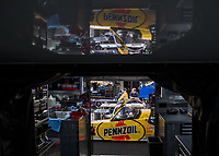 Oct 30, 2016; Las Vegas, NV, USA; The dragster of NHRA top fuel driver Leah Pritchett reflects inside her hauler during the Toyota Nationals at The Strip at Las Vegas Motor Speedway. Mandatory Credit: Mark J. Rebilas-USA TODAY Sports