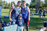 Picture by Brendon Ratnayake/SWpix.com - 14/02/2018 - Rugby League - Dacia World Club Challenge - Melbourne Storm v Leeds Rhinos - Gosch's Paddock, Melbourne, Australia - A young fan takes a photo with Ryan Hall and Stevie Ward of Leeds Rhinos