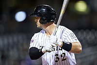 Daniel Palka (32) of the Charlotte Knights at bat against the Scranton/Wilkes-Barre RailRiders at BB&T BallPark on April 12, 2018 in Charlotte, North Carolina.  The RailRiders defeated the Knights 11-1.  (Brian Westerholt/Four Seam Images)