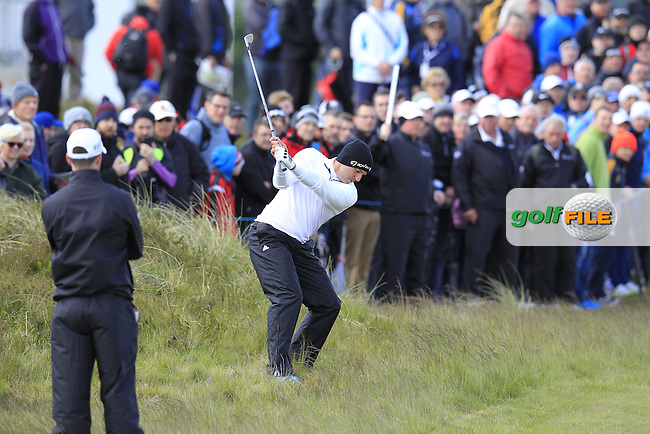 Sergio Garcia (ESP) plays his 2nd shot on the 18th hole during Friday's Round 2 of the 2015 Dubai Duty Free Irish Open, Royal County Down Golf Club, Newcastle Co Down, Northern Ireland 5/29/2015<br />  Picture Eoin Clarke, www.golffile.ie