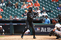 Alonzo Jones (8) of the Vanderbilt Commodores at bat against the Sam Houston State Bearkats in game one of the 2018 Shriners Hospitals for Children College Classic at Minute Maid Park on March 2, 2018 in Houston, Texas. The Bearkats walked-off the Commodores 7-6 in 10 innings.   (Brian Westerholt/Four Seam Images)