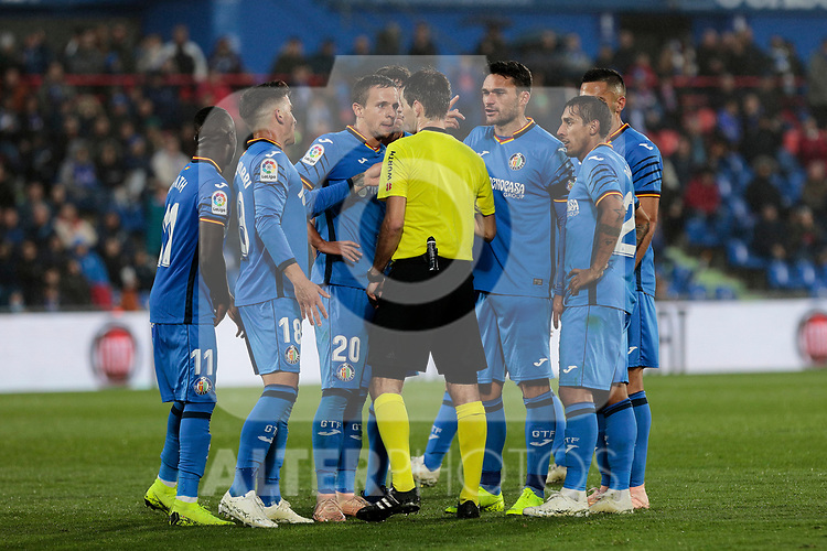Getafe CF's players have words with the referee during La Liga match between Getafe CF and Valencia CF at Coliseum Alfonso Perez in Getafe, Spain. November 10, 2018.