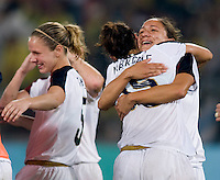 Kate Markgraf, Stephanie Cox. The USWNT defeated Brazil, 1-0, to win the gold medal during the 2008 Beijing Olympics at Workers' Stadium in Beijing, China.