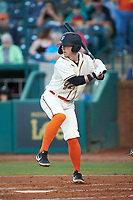 Patrick Dorrian (15) of the Greensboro Grasshoppers at bat against the Hagerstown Suns at First National Bank Field on April 6, 2019 in Greensboro, North Carolina. The Suns defeated the Grasshoppers 6-5. (Brian Westerholt/Four Seam Images)