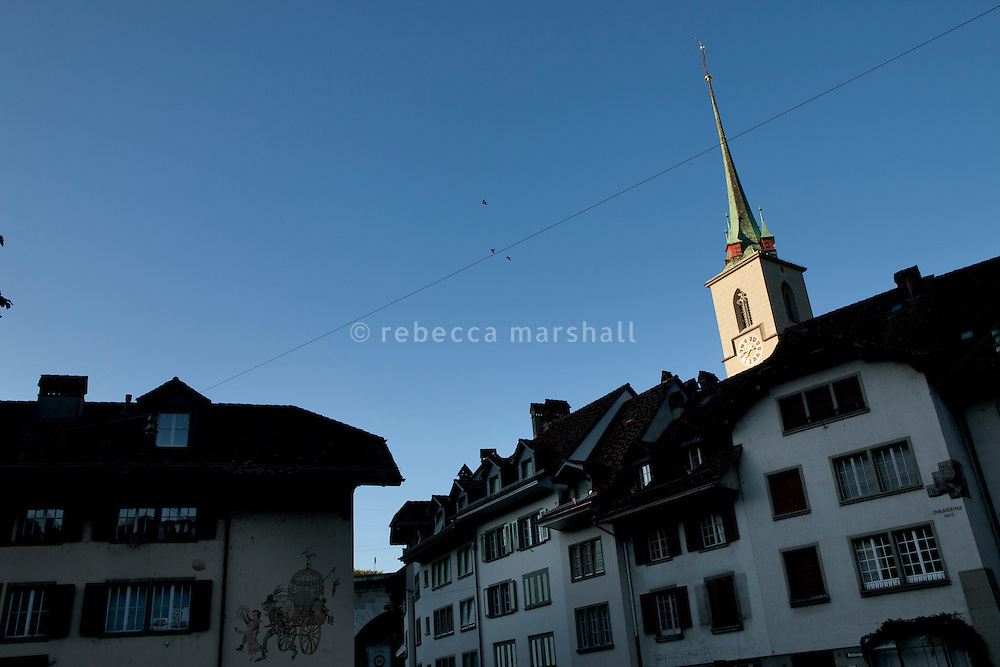 Mattenenge 2 (right) with the spire of Nydegg Church in the background, Bern, Switzerland, 28 August 2011