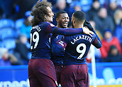 9th February 2019, The John Smith's Stadium, Huddersfield, England; EPL Premier League football, Huddersfield versus Arsenal; Alexandre Lacazette of Arsenal celebrates his 44th minute goal with his team mates