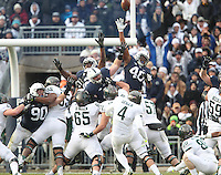 State College, PA - 11/26/2016:  Michigan State kicker Michael Geiger (4) kicks a field goal in the first half. #7 Penn State defeated Michigan State by a score of 45-12 to secure the Big Ten conference East Division championship on Senior Day, Saturday, November 26, 2016, at Beaver Stadium in State College, PA.<br /> <br /> Photos by Joe Rokita / JoeRokita.com