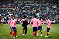 Club Atletico de Madrid players warm up before the UEFA Europa League final football match between Olympique de Marseille and Club Atletico de Madrid at the Groupama Stadium in Decines-Charpieu, near Lyon, France, May 16, 2018.<br /> UPDATE IMAGES PRESS/Isabella Bonotto