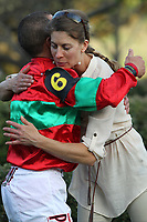 HOT SPRINGS, AR - MARCH 18: Jockey Javier Castellano after winning the Rebel Stakes race at Oaklawn Park on March 18, 2017 in Hot Springs, Arkansas. (Photo by Justin Manning/Eclipse Sportswire/Getty Images)