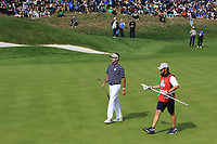 Bubba Watson (Team USA) on the 1st green during the Friday Foursomes at the Ryder Cup, Le Golf National, Ile-de-France, France. 28/09/2018.<br /> Picture Thos Caffrey / Golffile.ie<br /> <br /> All photo usage must carry mandatory copyright credit (&copy; Golffile | Thos Caffrey)