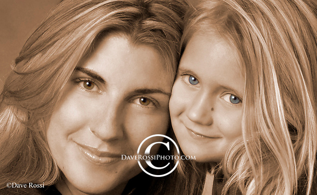 Mother Daughter, Sepia with color eyes.