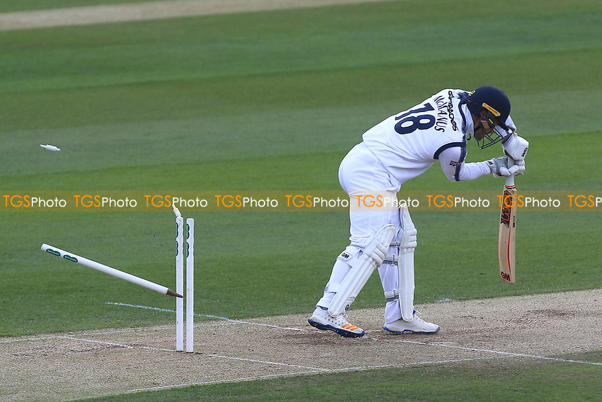 Lewis McManus of Hampshire is bowled out by Jamie Porter during Essex CCC vs Hampshire CCC, Specsavers County Championship Division 1 Cricket at The Cloudfm County Ground on 21st May 2017
