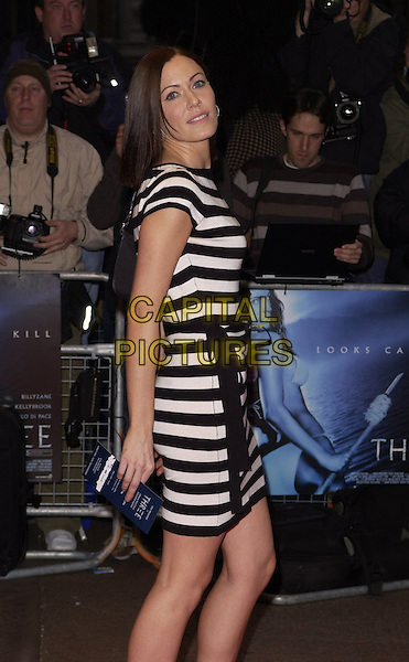 "LINZI STOPPARD.World Premiere of ""Three"" at the Odeon West End, Leicester Square, London, UK..May 2nd, 2006.Ref: CAN.half length black white striped stripes dress Lindsay Lindsey.www.capitalpictures.com.sales@capitalpictures.com.©Capital Pictures"