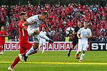 10.08.2019, Donaustadion, Ulm, GER, DFB Pokal, SSV Ulm 1846 Fussball vs 1. FC Heidenheim, <br /> DFL REGULATIONS PROHIBIT ANY USE OF PHOTOGRAPHS AS IMAGE SEQUENCES AND/OR QUASI-VIDEO, <br /> im Bild Maurice Multhaup (Heidenheim, #17), Marcel Schmidts (Ulm, #15)<br /> <br /> Foto © nordphoto / Hafner
