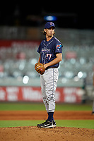 Jacksonville Jumbo Shrimp relief pitcher Tommy Eveld (37) gets ready to deliver a pitch during a game against the Pensacola Blue Wahoos on August 15, 2018 at Blue Wahoos Stadium in Pensacola, Florida.  Jacksonville defeated Pensacola 9-2.  (Mike Janes/Four Seam Images)