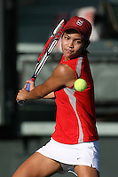 STANFORD, CA - FEBRUARY 19:  Hilary Barte of the Stanford Cardinal during Stanford's 5-2 win over the St. Mary's Gaels on February 19, 2009 at the Taube Family Tennis Stadium in Stanford, California.