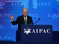 Washington, DC - March 6, 2018: U.S. Senator Mitch McConnell addresses attendees of the 2018 American Israel Public Affairs Committee (AIPAC) Policy Conference at the Washington Convention Center March 6, 2018.  (Photo by Don Baxter/Media Images International)