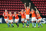 Dutch players celebrate the penalty shot win, QF, Holland-France, Women's EURO 2009 in Finland, 09032009, Tampere, Ratina Stadium.