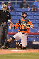 Bowie Baysox catcher Michael Ohlman (34) during a game against the Binghamton Mets on August 3, 2014 at NYSEG Stadium in Binghamton, New York.  Bowie defeated Binghamton 8-2.  (Mike Janes/Four Seam Images)