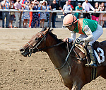 Slieve Mish (no. 13) wins Race 6, Aug. 5, 2018 at the Saratoga Race Course, Saratoga Springs, NY.  Ridden by Joel Rosario and trained by Christophe Clement, Slieve Mish finished a length in front of She's a Black Belt (no. 2).  (Photo credit: Bruce Dudek/Eclipse Sportswire)