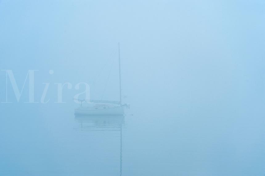 Boat in foggy weather, Southwest Harbor, Maine, USA