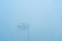 Boat in foggy weather, Southwest Harbor, Maine, USA
