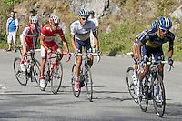 Alberto Contador (c), Joaquin Purito Rodriguez (c-l) and Daniel Moreno (l) during the stage of La Vuelta 2012 between La Robla and Lagos de Covadonga.September 2,2012. (ALTERPHOTOS/Paola Otero) /NortePhoto.com<br /> <br /> **CREDITO*OBLIGATORIO** <br /> *No*Venta*A*Terceros*<br /> *No*Sale*So*third*<br /> *** No*Se*Permite*Hacer*Archivo**<br /> *No*Sale*So*third*
