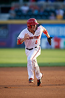 Harrisburg Senators shortstop Carter Kieboom (5) runs the bases during a game against the Erie SeaWolves on August 29, 2018 at FNB Field in Harrisburg, Pennsylvania.  Harrisburg defeated Erie 5-4.  (Mike Janes/Four Seam Images)