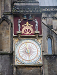 Exterior view of the cathedral astronomical clock Wells, Somerset England