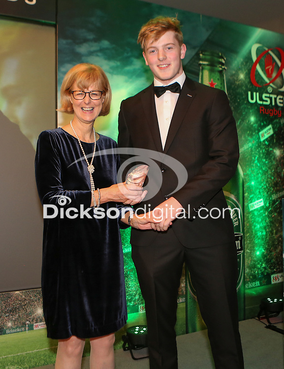 Thursday 10th May 2018 | Ulster Rugby Awards 2018<br /> <br /> Caroline Whiteside, Personnel Director of Ulster Carpets presents the 2018 Ulster Carpets Youth Player of the Year Award to Conor McMenamin, Letterkenny RFC, during the 2018 Heineken Ulster Rugby Awards at La Mom Hotel, Belfast. Photo by John Dickson / DICKSONDIGITAL