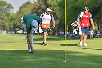 Justin Thomas (USA) repairs his ball mark on 18 after holing out his approach shot during round 4 of the World Golf Championships, Mexico, Club De Golf Chapultepec, Mexico City, Mexico. 3/4/2018.<br /> Picture: Golffile | Ken Murray<br /> <br /> <br /> All photo usage must carry mandatory copyright credit (&copy; Golffile | Ken Murray)
