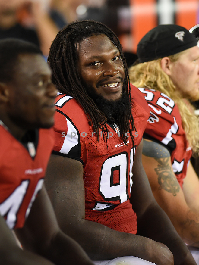 CLEVELAND, OH - AUGUST 18, 2016: Linebacker Courtney Upshaw #91 of the Atlanta Falcons sits on the sideline in the fourth quarter of a preseason game on August 18, 2016 against the Cleveland Browns at FirstEnergy Stadium in Cleveland, Ohio. Atlanta won 24-13. (Photo by: 2016 Nick Cammett/Diamond Images) *** Local Caption *** Courtney Upshaw