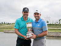 Sergio Garcia (ESP) and his caddie during prize giving on the 18th green during the final round at the KLM Open, The International, Amsterdam, Badhoevedorp, Netherlands. 15/09/19.<br /> Picture Stefano Di Maria / Golffile.ie<br /> <br /> All photo usage must carry mandatory copyright credit (© Golffile | Stefano Di Maria)