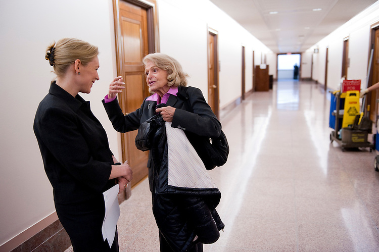 WASHINGTON, DC - March 16: Sen. Kirsten Gillibrand, D-N.Y., and Edith Windsor, of New York City, talk in the hall before a news conference on the bill Gillibrand and other senators are sponsoring that would repeal the Defense of Marriage Act (DOMA). When Windsor's partner of more than 40 years, Thea Spyer, died in 2009, Windsor was required to pay $363,000 in federal estate taxes that would not be due if she were married to a man. She has challenged DOMA in federal court in New York. (Photo by Scott J. Ferrell/Congressional Quarterly)