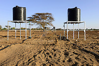 KENYA, Lodwar, 65 accres NAPUU drip irrigation scheme by the county government, the water is pumped by a solar powered pump to a large tank from where water flows by gravity to the small tanks for the drip irrigation of vegetable fields / KENIA Turkana, Lodwar, 30 ha grosse Farm mit Troepfchenbewaesserung, das Wasser wird mit Hilfe einer solar betriebenen Pumpe aus einem Brunnen gefoerdert und in gtossen Tanks zwischen gespeichert, durch Gravitation werden die kleinen Tanks in den Gemuesefeldern fuer die Troepfchenbewaessrung gefuellt