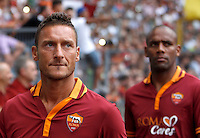"Calcio: allenamento a porte aperte ""Open Day"" per la presentazione della Roma, a Roma, stadio Olimpico, 21 agosto 2013.<br /> AS Roma forward Francesco Totti and defender Maicon, of Brazil, right, attend the club's Open Day training session at Rome's Olympic stadium, 21 August 2013.<br /> UPDATE IMAGES PRESS/Isabella Bonotto"