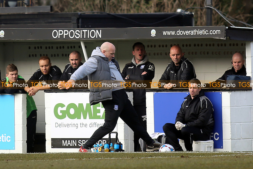 Tranmere Rovers Manager, Gary Brabin, shows his skills on the touchline during Dover Athletic vs Tranmere Rovers, Vanarama National League Football at the Crabble Athletic Ground on 12th March 2016