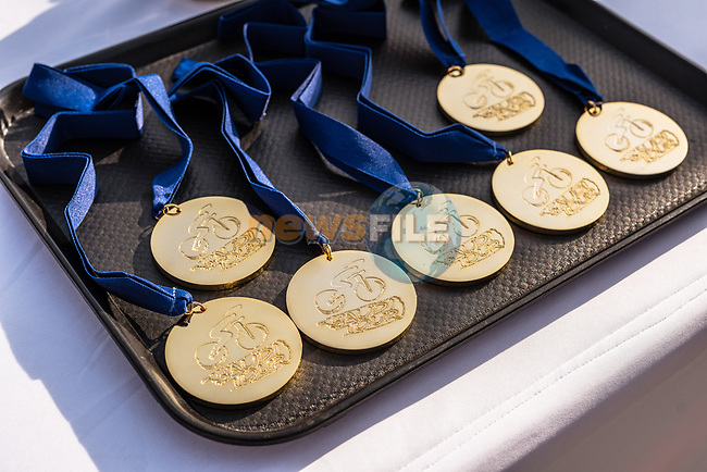 Winners medals at the end of Stage 5 of the Saudi Tour 2020 running 144km from Princess Nourah University to Al Masmak, Saudi Arabia. 8th February 2020. <br /> Picture: ASO/Kåre Dehlie Thorstad | Cyclefile<br /> All photos usage must carry mandatory copyright credit (© Cyclefile | ASO/Kåre Dehlie Thorstad)