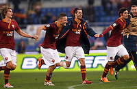 Calcio, Serie A: Roma-Genoa. Roma, stadio Olimpico, 12 gennaio 2014.<br /> From left, AS Roma players Tin Jedvai, of Croatia, Francesco Totti, Miralem Pjanic, of Bosnia, Dodo', of Brazil,  and Bogdan Lobont, of Romania, greet fans at the end of the Italian Serie A football match between AS Roma and Genoa, at Rome's Olympic stadium, 12 January 2014. AS Roma won 4-0.<br /> UPDATE IMAGES PRESS/Isabella Bonotto