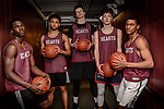 WATERBURY, CT. 16 March 2018-031618BS25 - The Sacred Heart starting five from left, Raheem Solomon, Isiah Gaiter, Connor Tierney, Zachary Francisco, and Andre Anderson all pose for a photo before the finals of the Div 1 Sate Championships on Sunday at Sacred Heart High School on Friday afternoon. Bill Shettle Republican-American