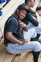 Omaha Storm Chasers pitcher Yordano Ventura (43) in the dugout during the Pacific Coast League game against the Oklahoma City RedHawks at Chickashaw Bricktown Ballpark on June 23, 2013 in Oklahoma City ,Oklahoma.  (William Purnell/Four Seam Images)