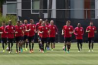 Seattle, WA - June 14, 2016: The USMNT train in preparation for their 2016 Copa America Centenario Quarterfinal match versus Ecuador at Seattle University Championship Field.