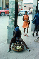 Selling fruit. Images of the capital,Port au Prince, Haiti 1975
