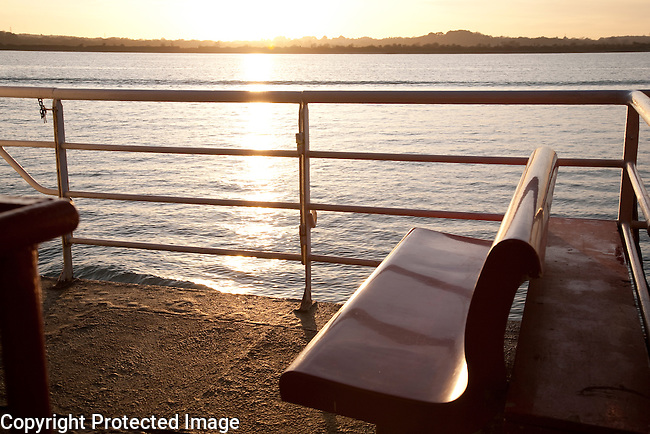 Seat on Ferry at Sunset