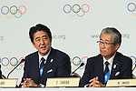 (L to R) <br />  Shinzo Abe, <br /> Tsunekazu Takeda, <br /> SEPTEMBER 7, 2013 : <br /> A press conference after Tokyo was announced as the winning city bid for the 2020 Summer Olympic Games at the 125th International Olympic Committee (IOC) session in Buenos Aires Argentina, on Saturday September 7, 2013. (Photo by YUTAKA/AFLO SPORT)