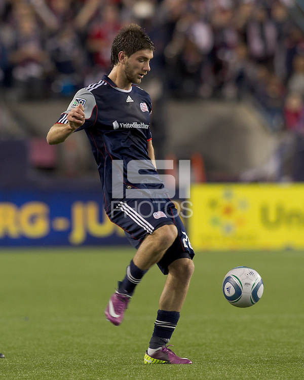 New England Revolution midfielder Stephen McCarthy (26) passes the ball. In a Major League Soccer (MLS) match, the New England Revolution defeated the Vancouver Whitecaps FC, 1-0, at Gillette Stadium on May14, 2011.