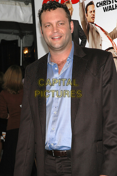"VINCE VAUGHN.The premiere of the new film, ""The Wedding Crashers"", at the Ziegfeld Theater in Manhattan, New York, New York..July 13th, 2005.Photo Credit: Patti Ouderkirk/AdMedia.half length dark grey gray pinstripe suit jacket double chin blue shirt.www.capitalpictures.com.sales@capitalpictures.com.© Capital Pictures."