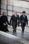Adolfo Suarez Illana with his wife and children arrive to the state funeral for former Spanish prime minister Adolfo Suarez at the Almudena Cathedral in Madrid, Spain. March 31, 2014. (ALTERPHOTOS/Victor Blanco)