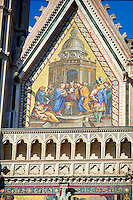 Close up of a gable with mosaic created between 1350 and 1390 after designs by artist Cesare Nebbia on the14th century Tuscan Gothic style facade of the Cathedral of Orvieto, designed by Maitani, Umbria, Italy